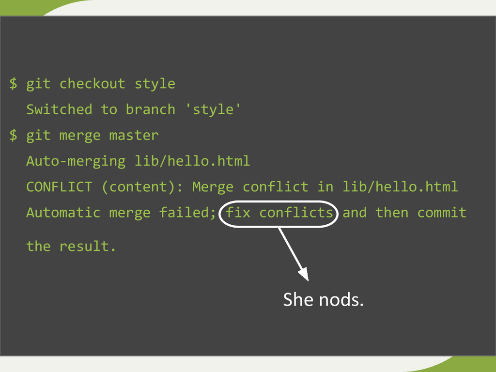$ git checkout style Switched to branch 'style'...
