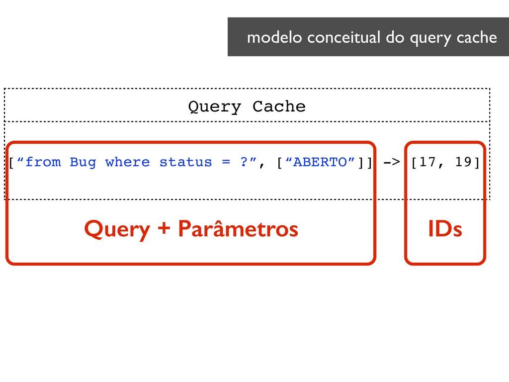 """modelo conceitual do query cache Query Cache [""""..."""