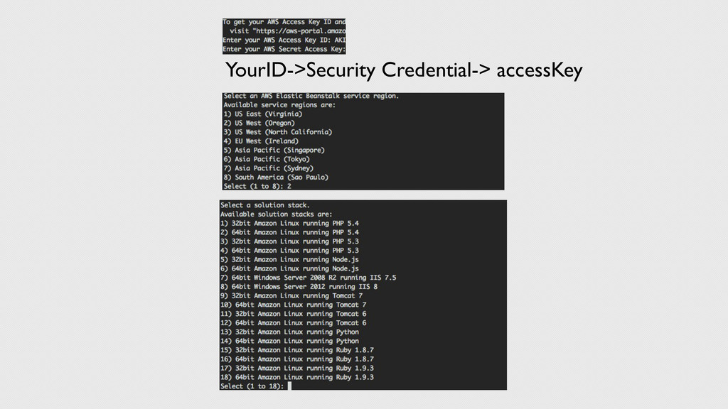 YourID->Security Credential-> accessKey