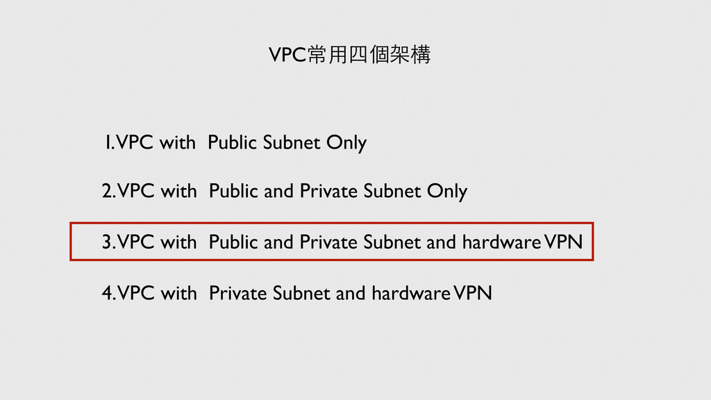 VPC常⽤用四個架構 I. VPC with Public Subnet Only 2. VP...