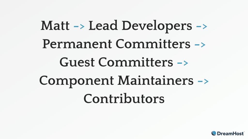 Matt -> Lead Developers -> Permanent Committer...