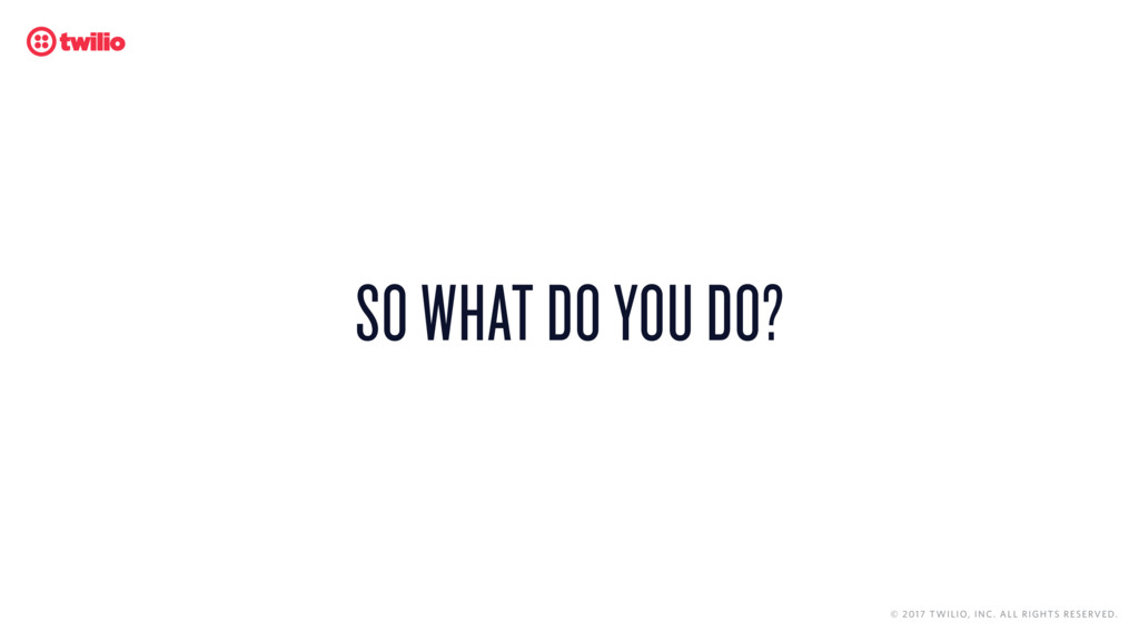 SO WHAT DO YOU DO? © 2017 TWILIO, INC. ALL RIGH...