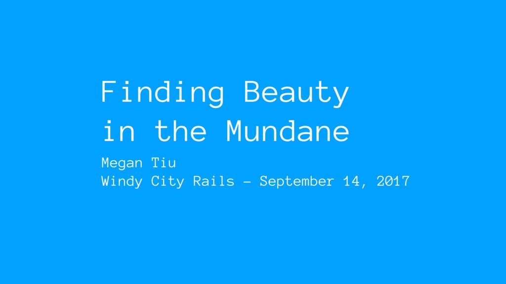 Finding Beauty in the Mundane Megan Tiu Windy C...