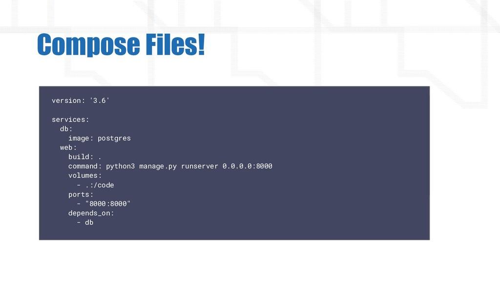 Compose Files! version: '3.6' services: db: ima...