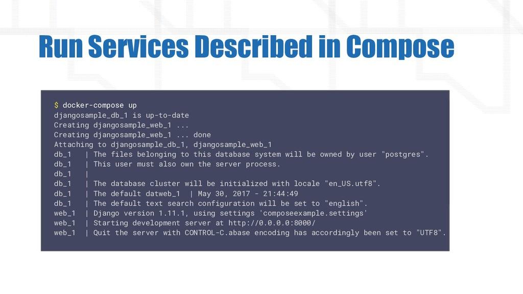 Run Services Described in Compose $ docker-comp...