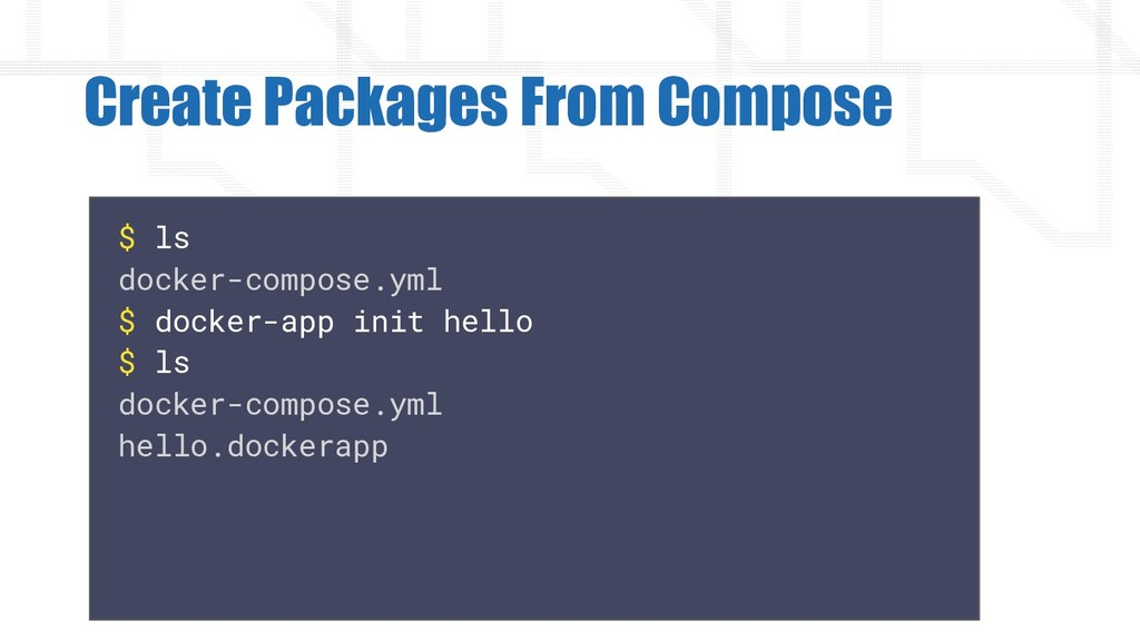 Create Packages From Compose $ ls docker-compos...
