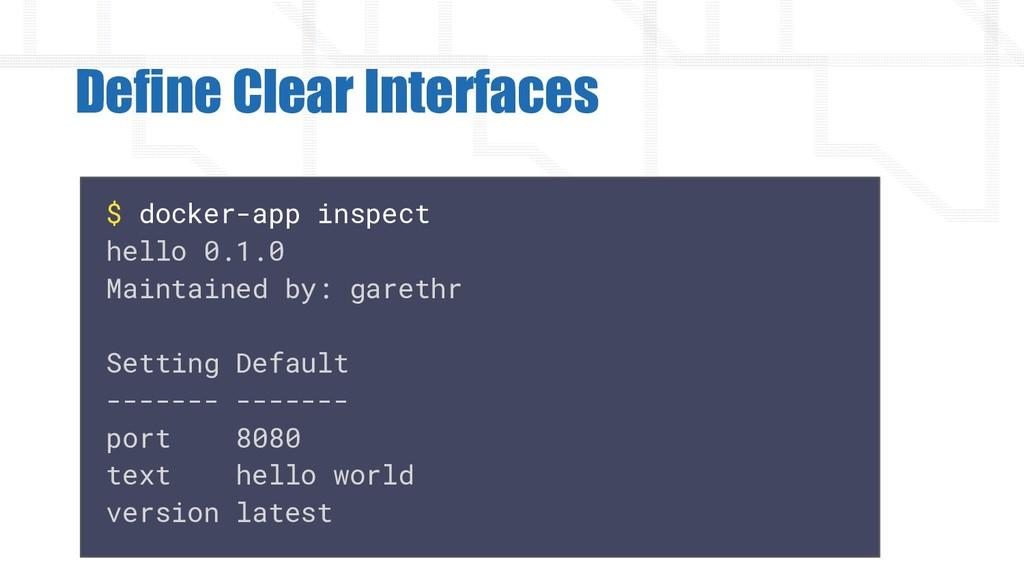 Define Clear Interfaces $ docker-app inspect he...