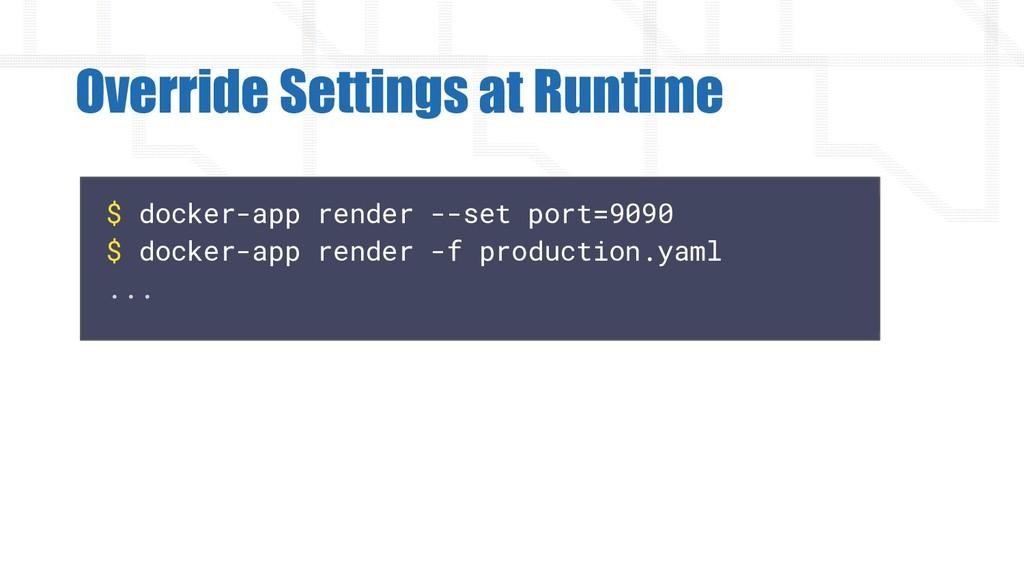 $ docker-app render --set port=9090 $ docker-ap...
