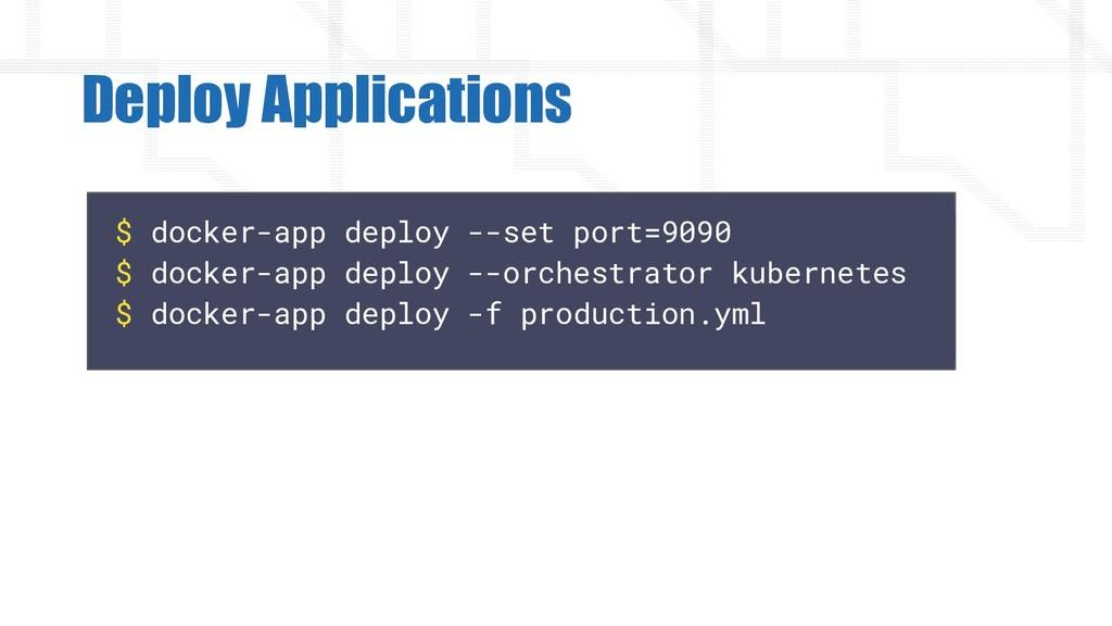 $ docker-app deploy --set port=9090 $ docker-ap...
