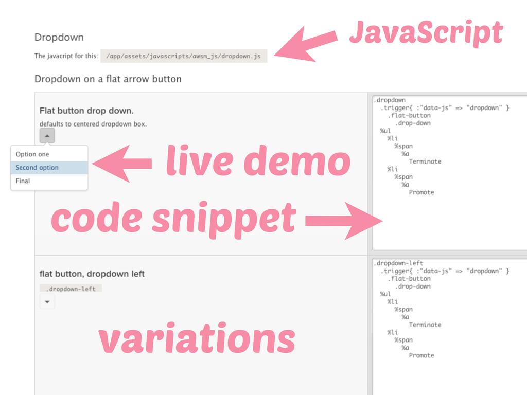 live demo code snippet JavaScript variations