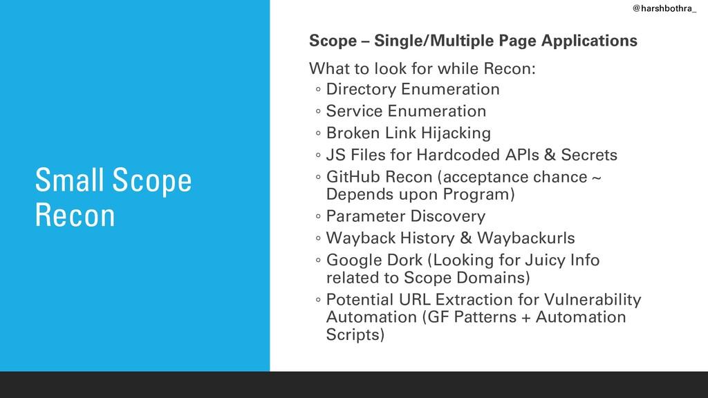 Small Scope Recon Scope – Single/Multiple Page ...