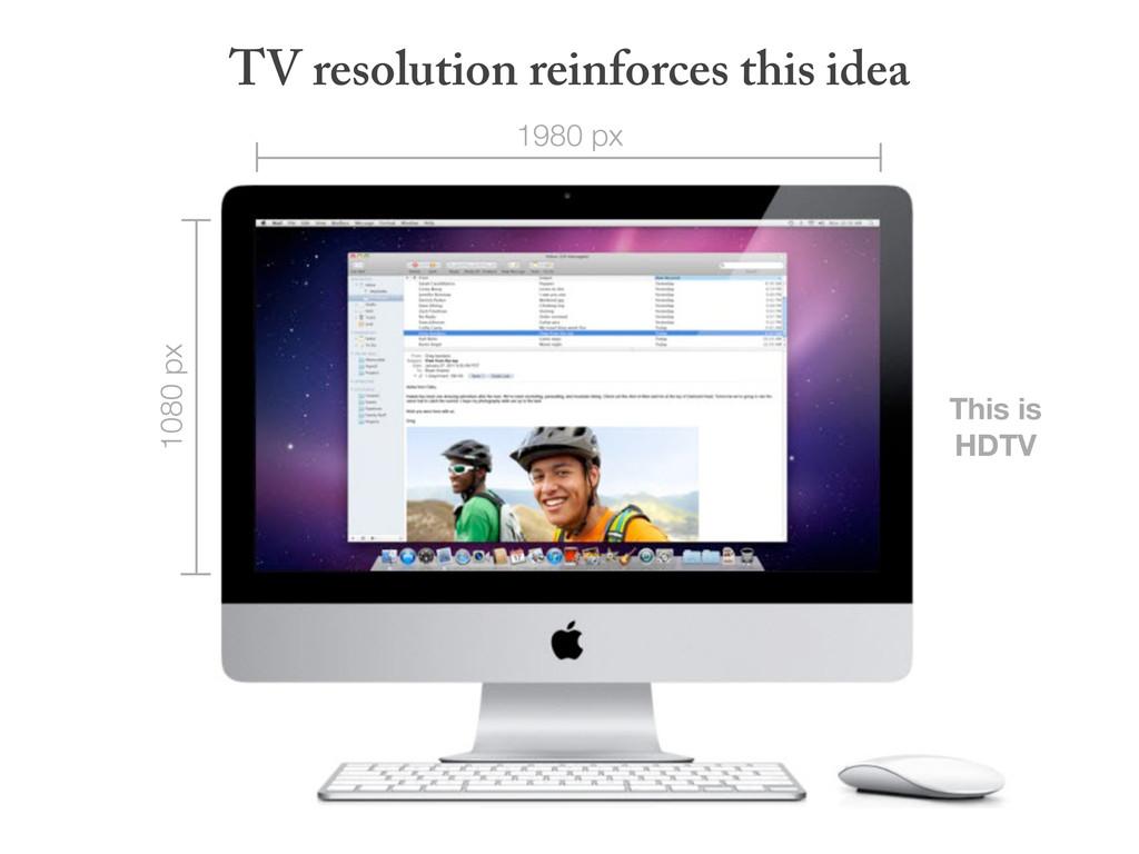 TV resolution reinforces this idea 1980 px 1080...