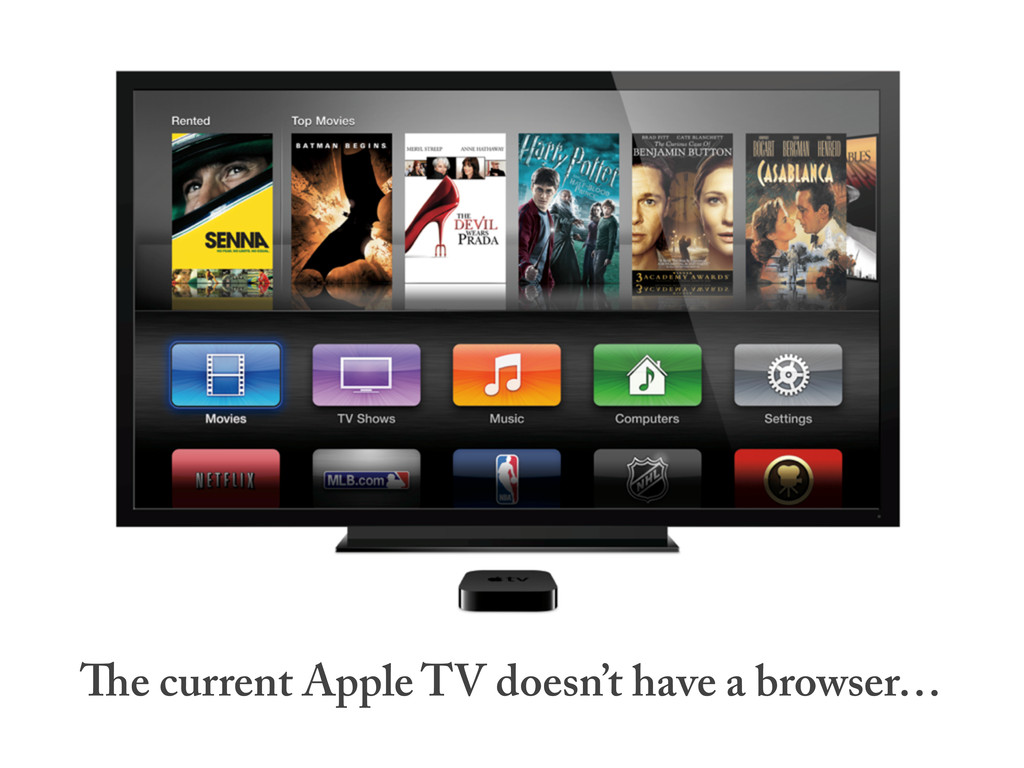 e current Apple TV doesn't have a browser…