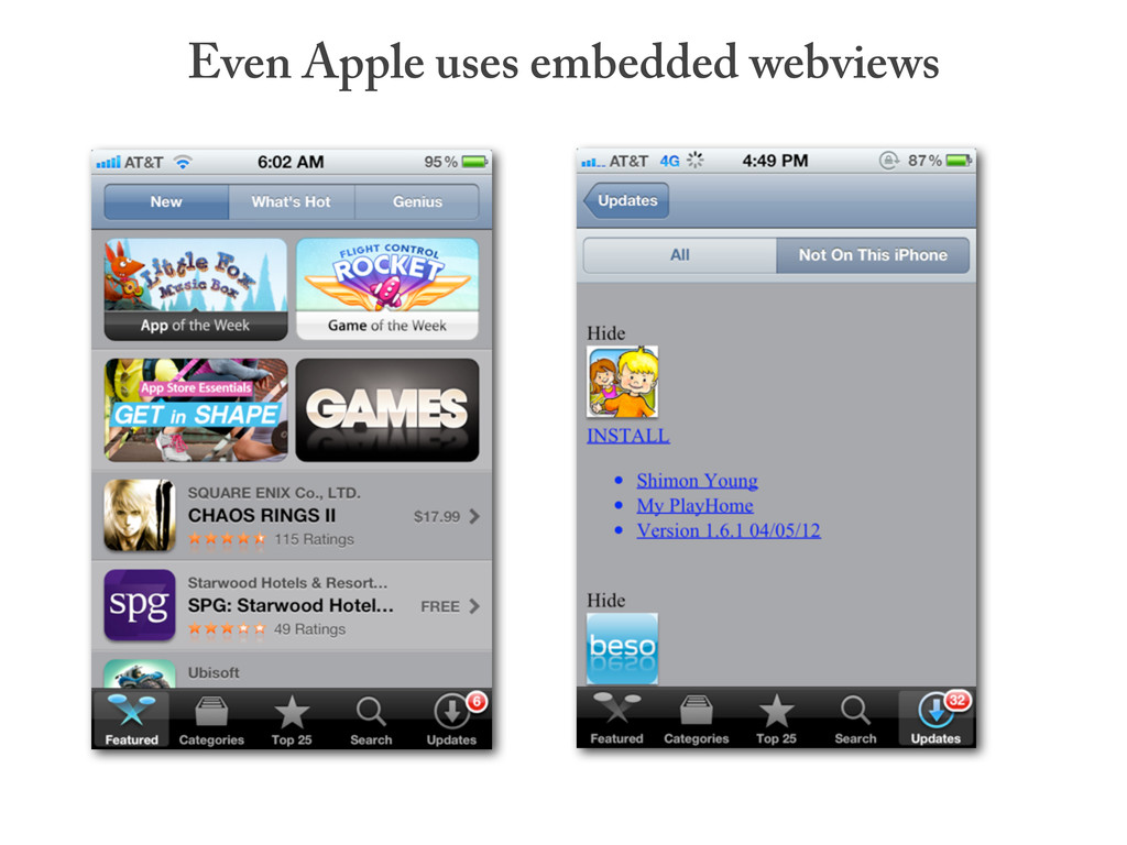 Even Apple uses embedded webviews