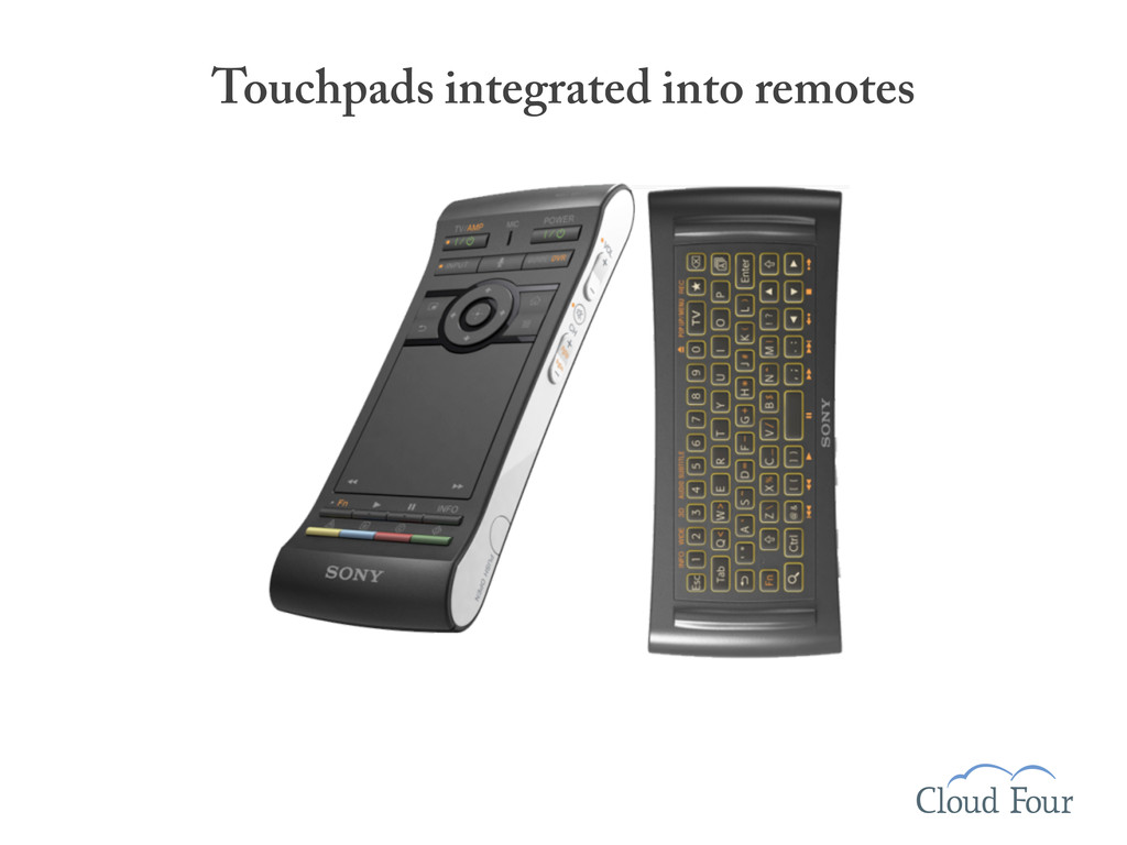 Touchpads integrated into remotes