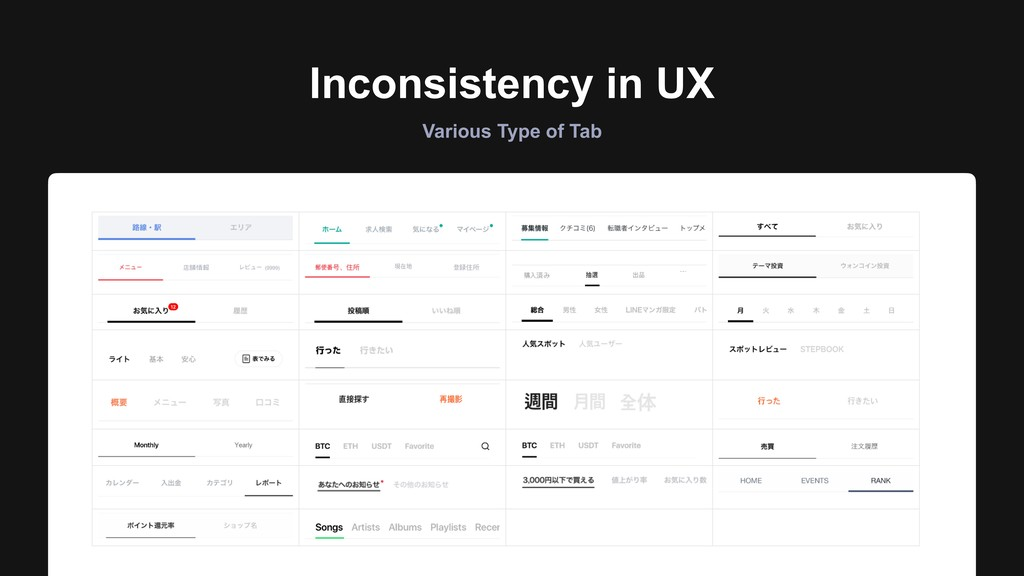 Inconsistency in UX Various Type of Tab