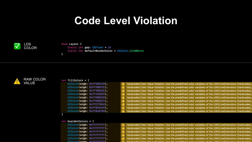 LDS COLOR RAW COLOR VALUE ⚠ ✅ Code Level Violat...
