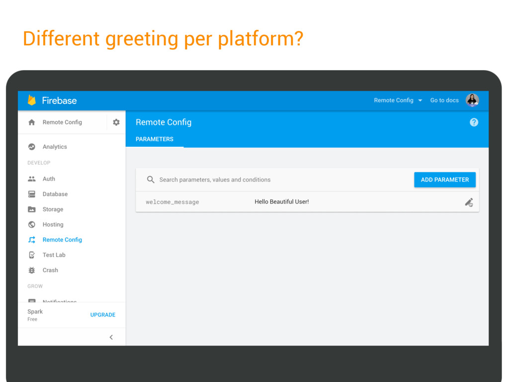 Different greeting per platform?