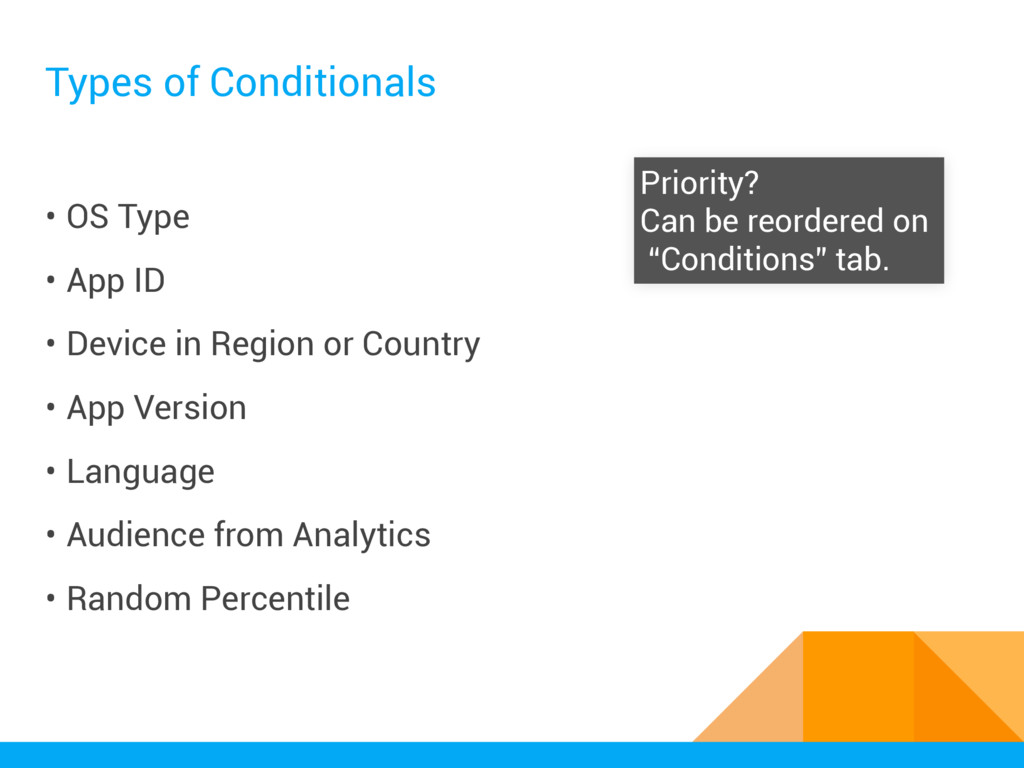 Types of Conditionals • OS Type • App ID • Devi...