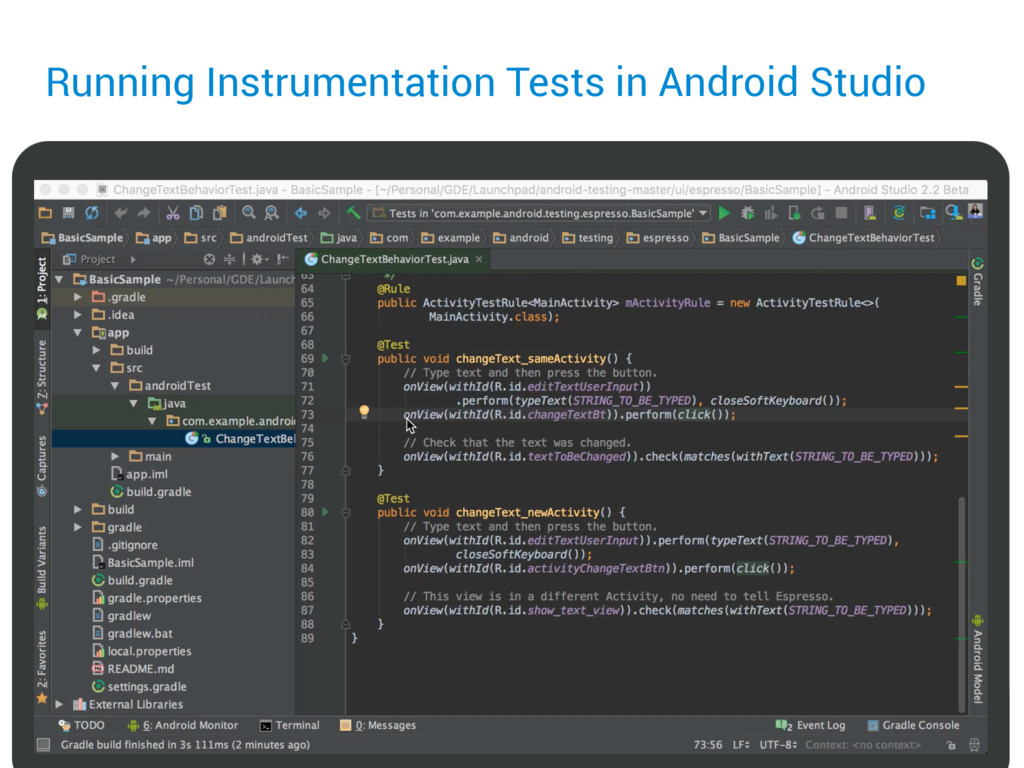 Running Instrumentation Tests in Android Studio