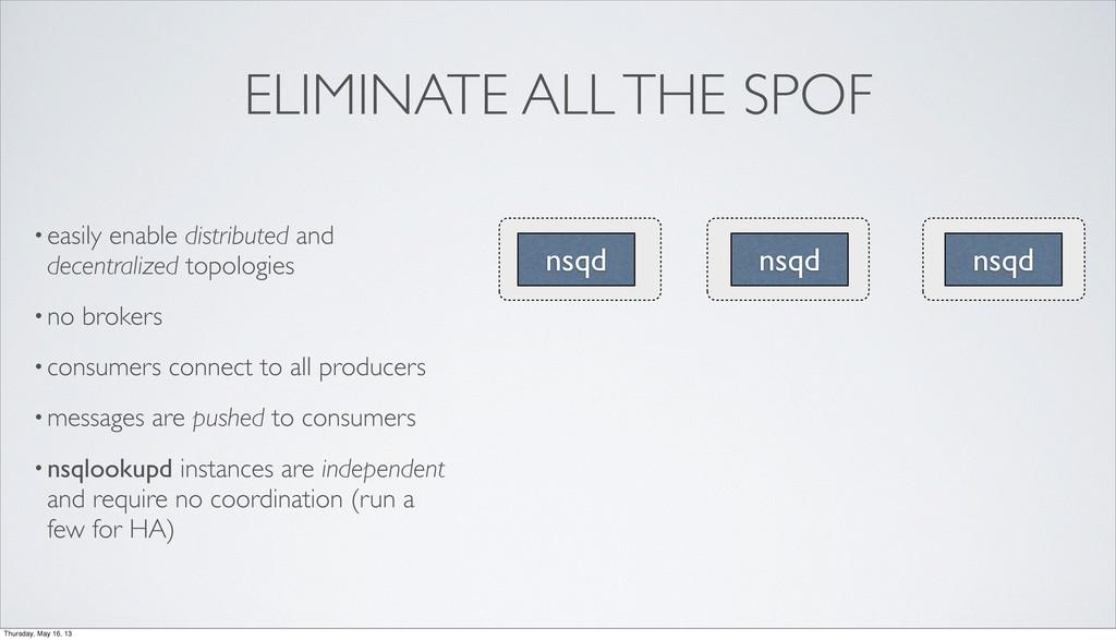 ELIMINATE ALL THE SPOF nsqd nsqd nsqd •easily e...
