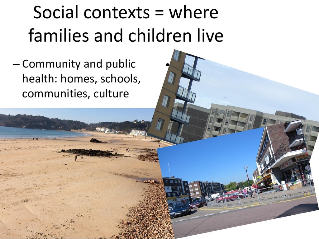 Social contexts = where families and children l...