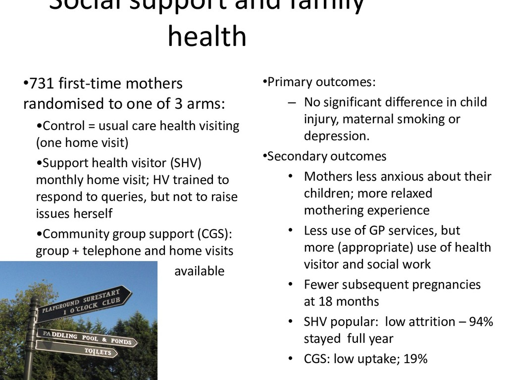 Social support and family health •731 first-tim...