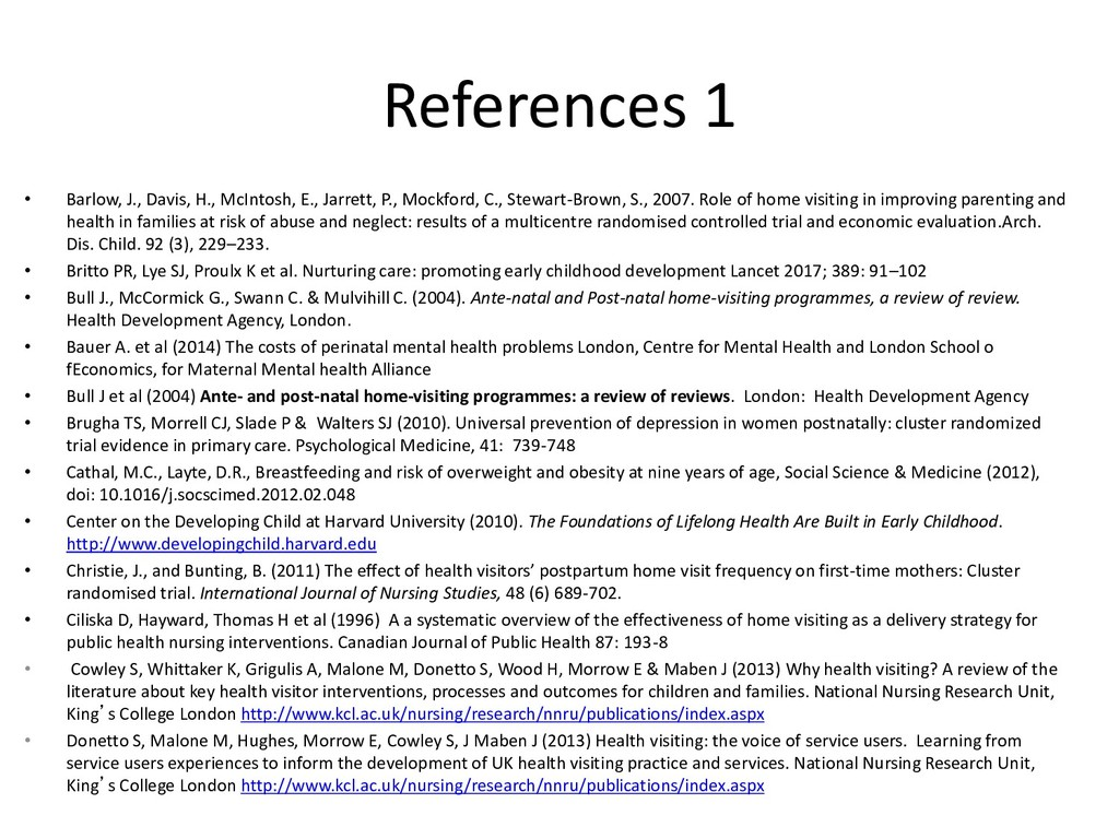 References 1 • Barlow, J., Davis, H., McIntosh,...