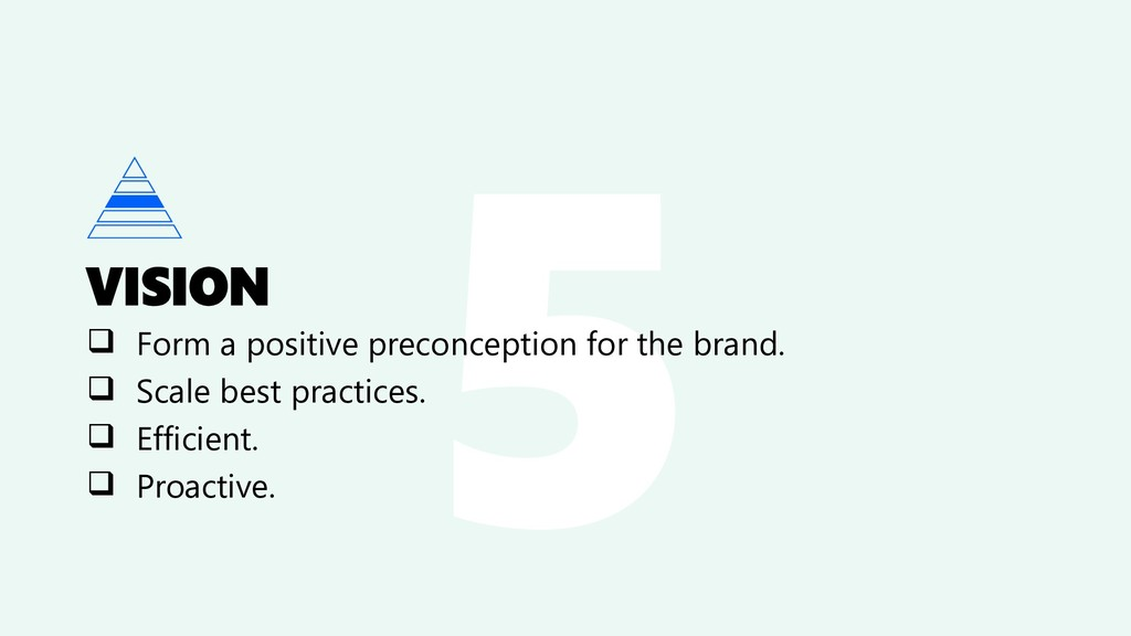 VISION ❑ Form a positive preconception for the ...