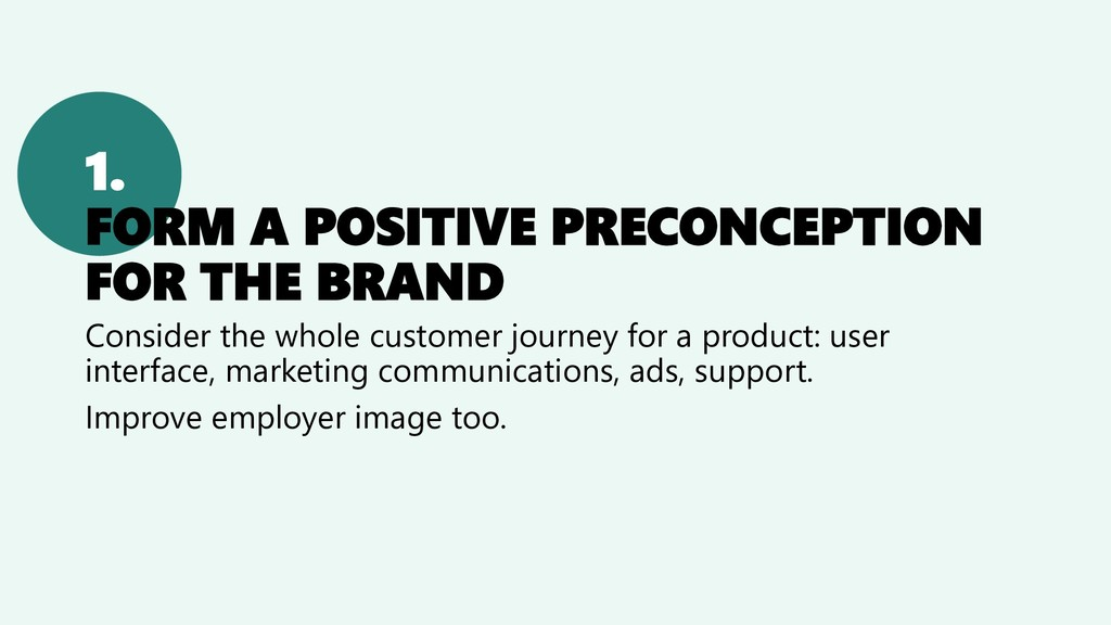 1. FORM A POSITIVE PRECONCEPTION FOR THE BRAND ...