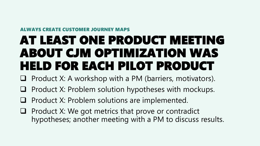 AT LEAST ONE PRODUCT MEETING ABOUT CJM OPTIMIZA...