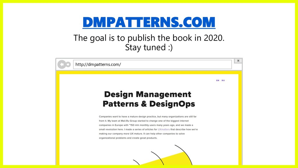 DMPATTERNS.COM The goal is to publish the book ...