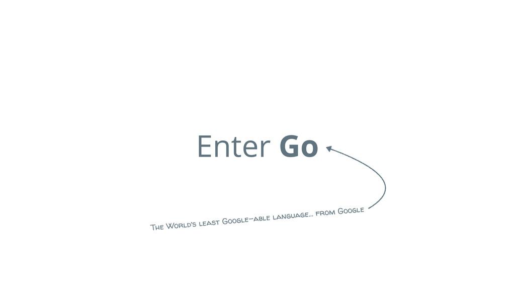 Enter Go The World's least Google-able language...