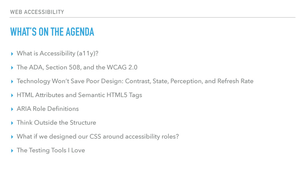 WEB ACCESSIBILITY WHAT'S ON THE AGENDA ▸ What i...