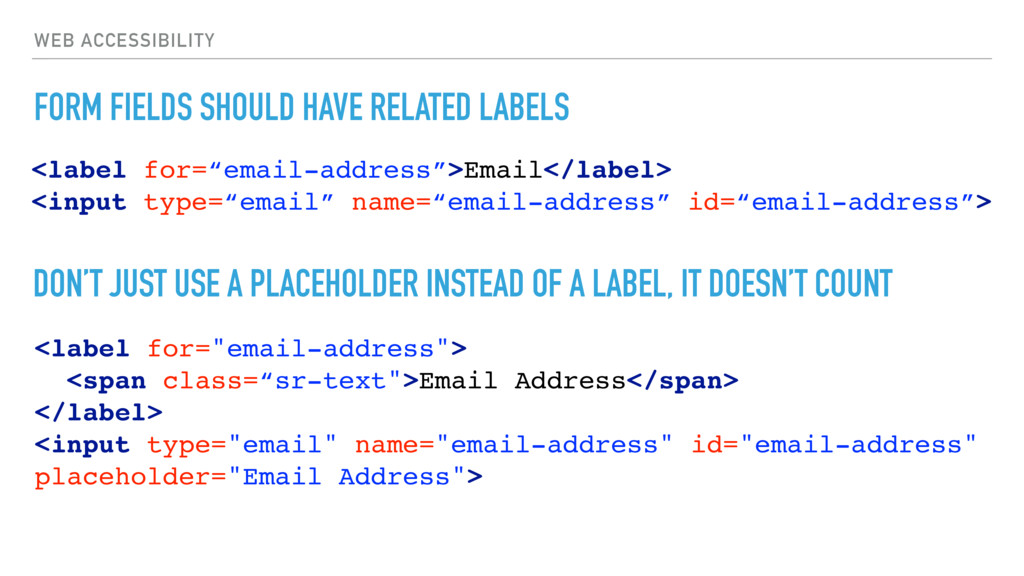 WEB ACCESSIBILITY FORM FIELDS SHOULD HAVE RELAT...