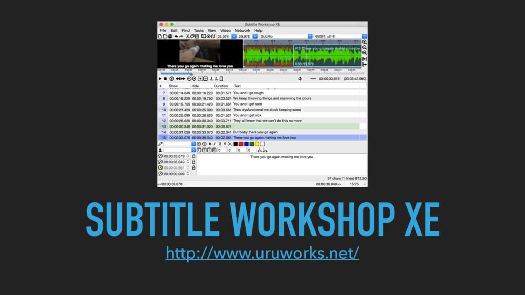 SUBTITLE WORKSHOP XE http://www.uruworks.net/