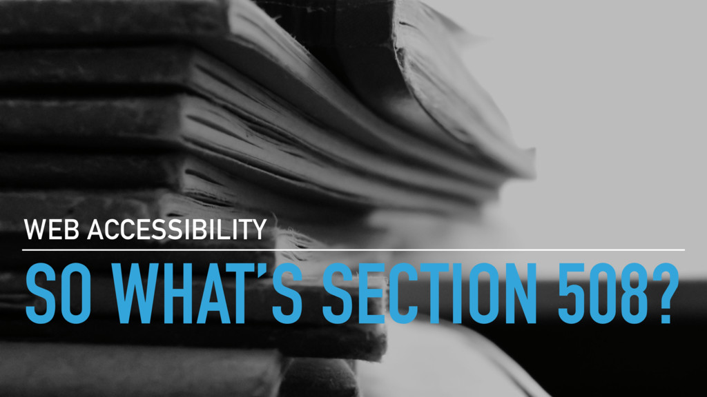 SO WHAT'S SECTION 508? WEB ACCESSIBILITY