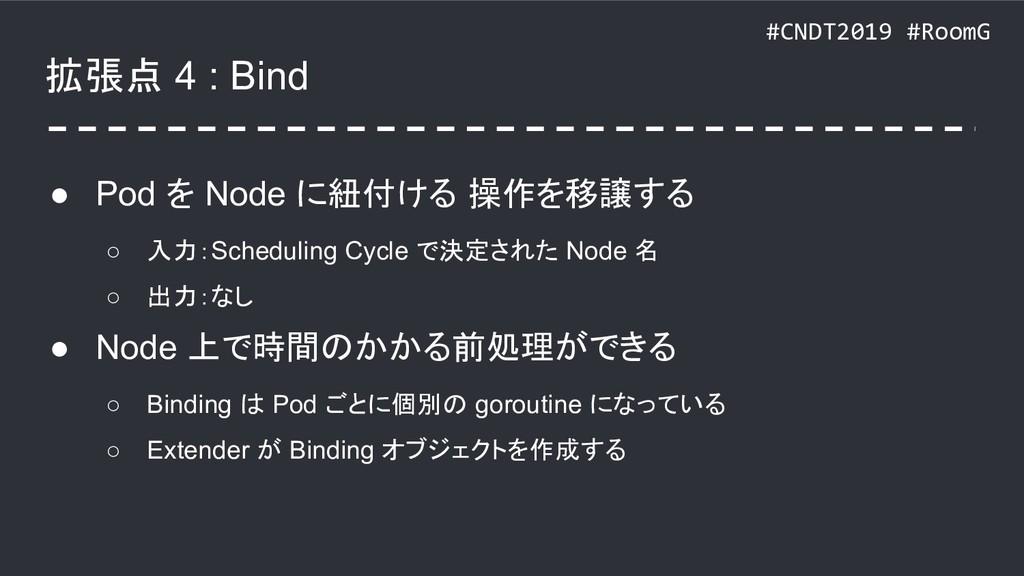 #CNDT2019 #RoomG 拡張点 4 : Bind ● Pod を Node に紐付け...