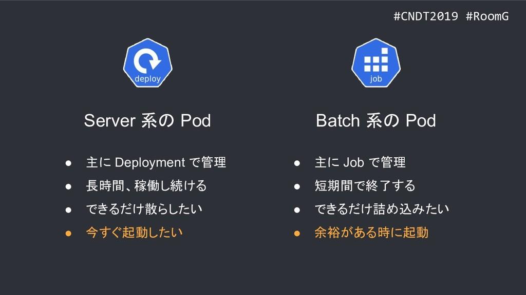 #CNDT2019 #RoomG ● 主に Deployment で管理 ● 長時間、稼働し続...