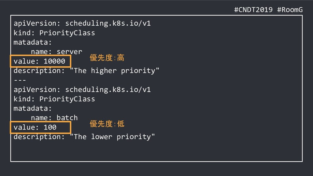 #CNDT2019 #RoomG apiVersion: scheduling.k8s.io/...