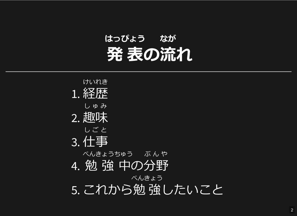 はっぴょう 発 表の なが 流れ 1. けいれき 経歴 2. し ゅ み 趣味 3. し ご ...