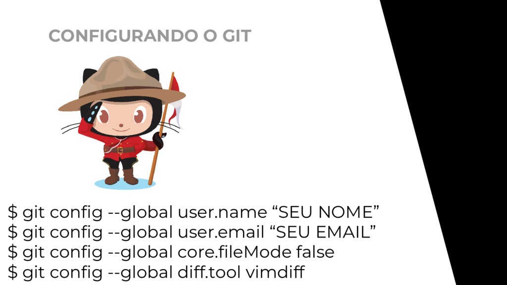 CONFIGURANDO O GIT $ git config --global user.n...