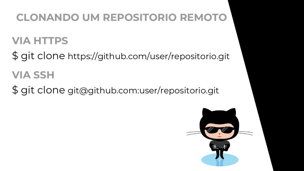 CLONANDO UM REPOSITORIO REMOTO $ git clone http...