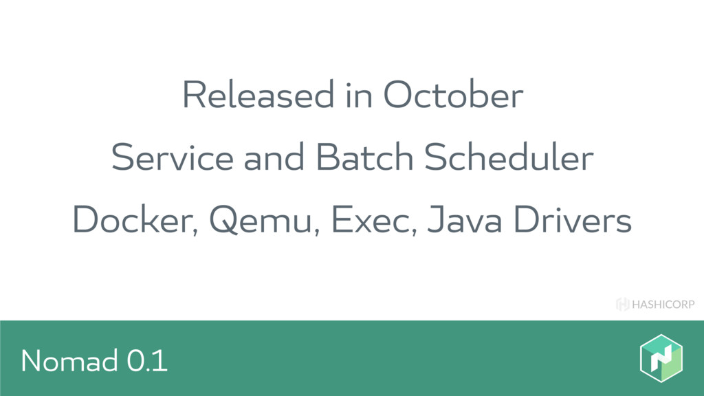 HASHICORP Nomad 0.1 Released in October Service...