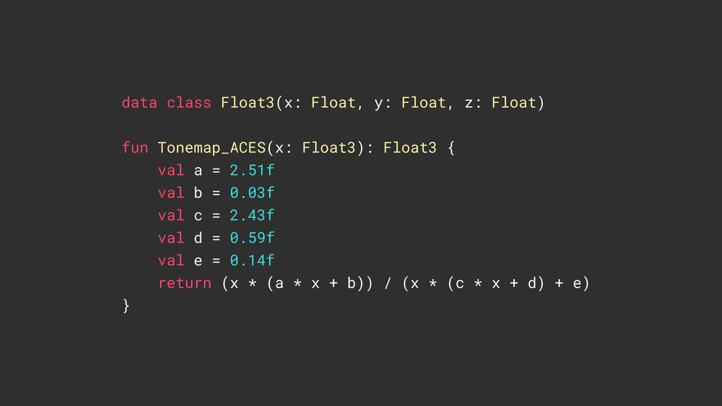 data class Float3(x: Float, y: Float, z: Float)...