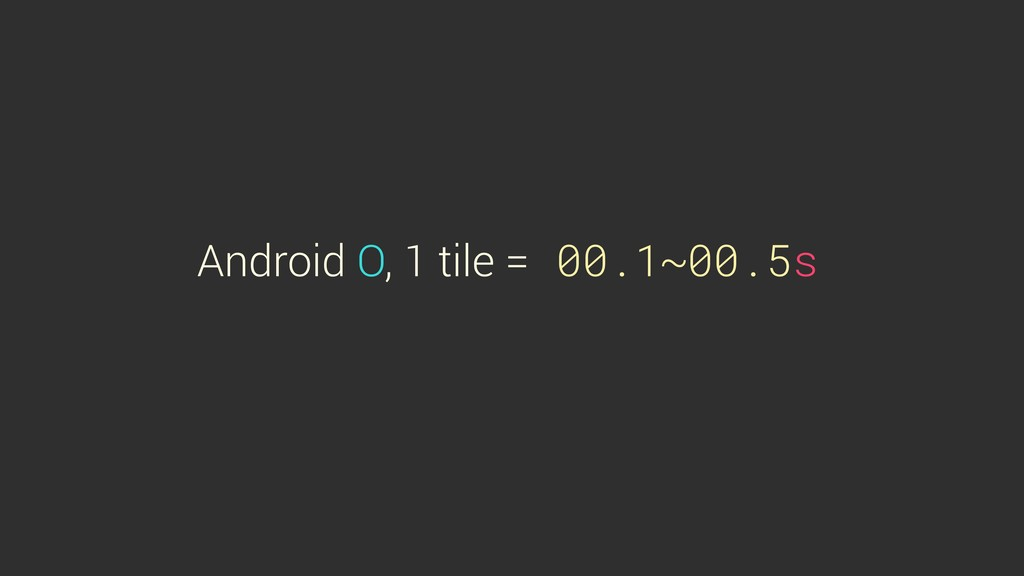 Android O, 1 tile = 00.1~00.5s
