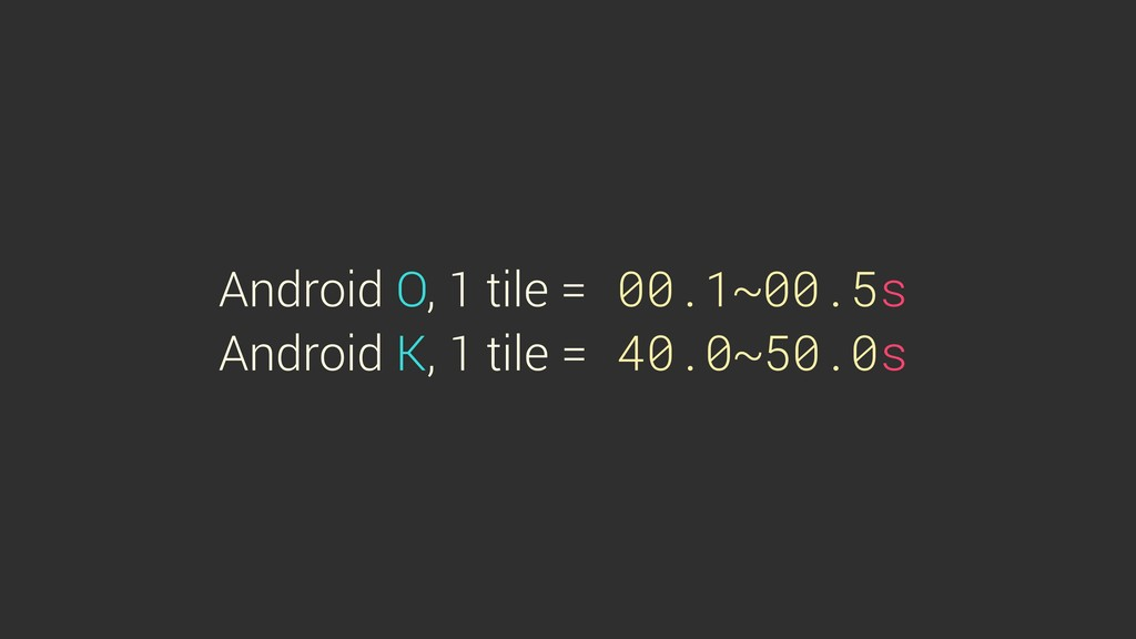 Android O, 1 tile = 00.1~00.5s Android K, 1 til...