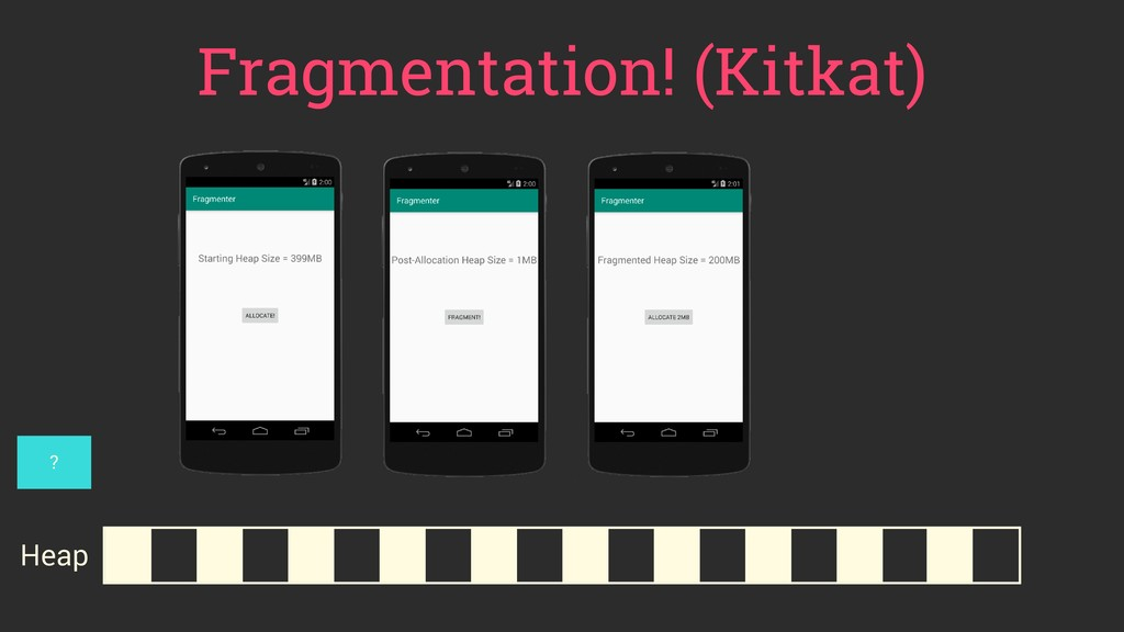 Fragmentation! (Kitkat) Heap ?