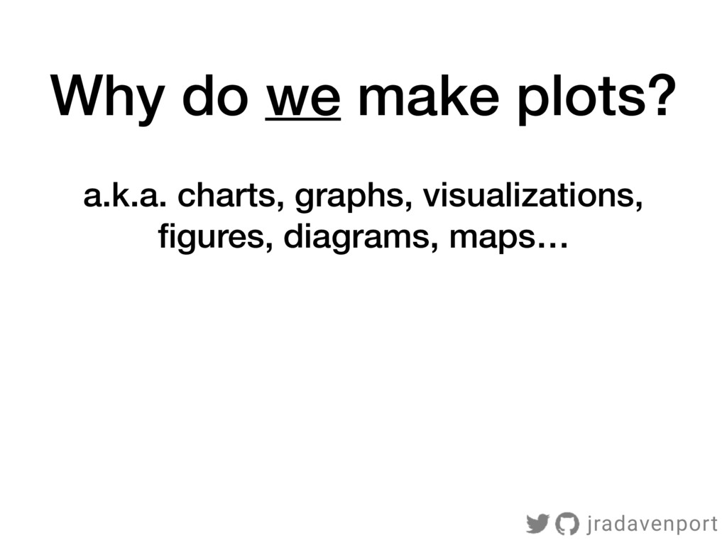 Why do we make plots? a.k.a. charts, graphs, vi...