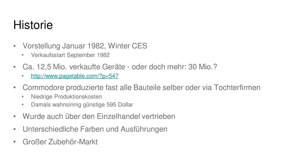 Historie • Vorstellung Januar 1982, Winter CES ...